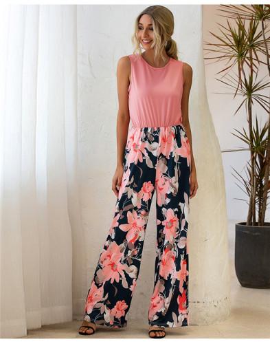 Pink Round neck printed vest fashion loose jumpsuit