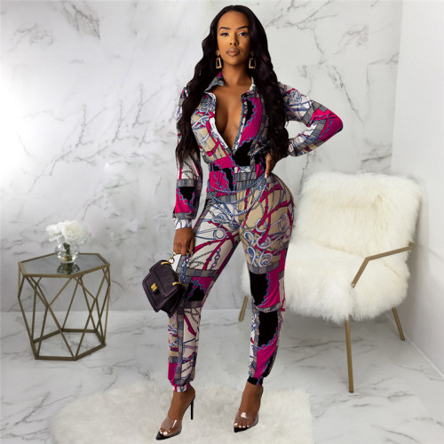 Rose Red Sexy fashion print Jumpsuit