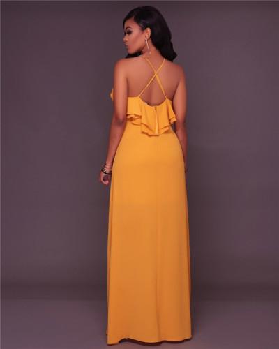 Yellow Fashion slim casual dress