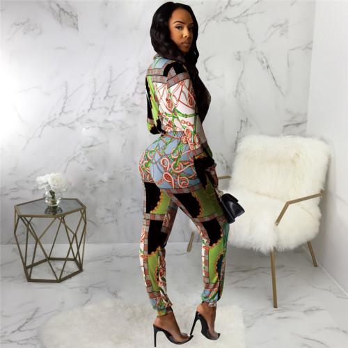Green Sexy fashion print Jumpsuit