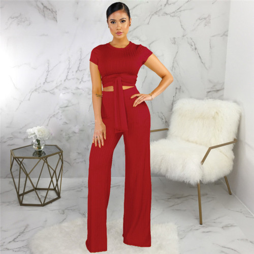 Red Sexy fashion classic solid two piece suit