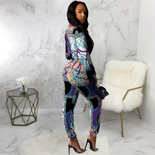Blue Sexy fashion print Jumpsuit