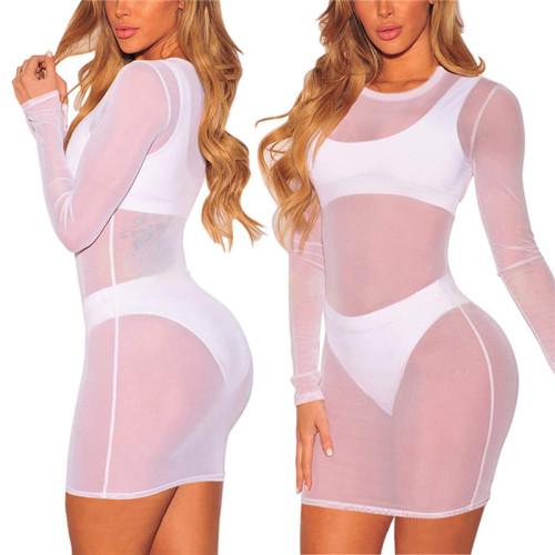 White Sexy fashion super elastic pure color mesh dress