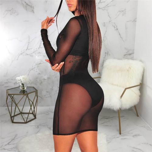 Black Sexy fashion super elastic pure color mesh dress