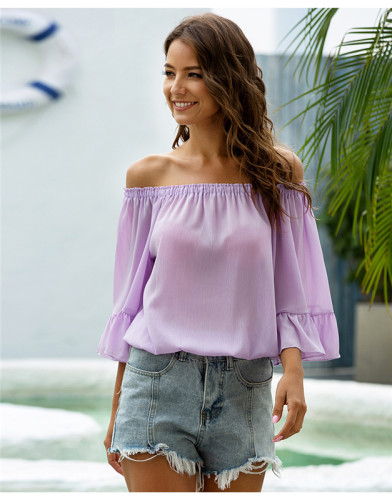 Purple One shoulder loose flared sleeve chiffon shirt