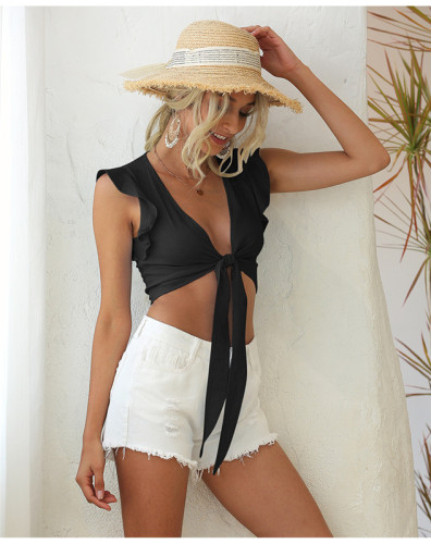 Black Sleeveless ruffled lace sexy solid color vest