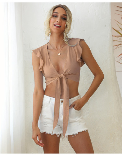Pink Sleeveless ruffled lace sexy solid color vest