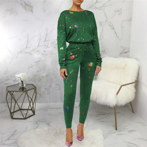 Green Two piece leisure fashion printing set