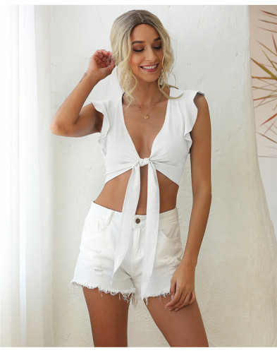 White Sleeveless ruffled lace sexy solid color vest
