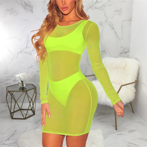 Fluorescent green Sexy fashion super elastic pure color mesh dress