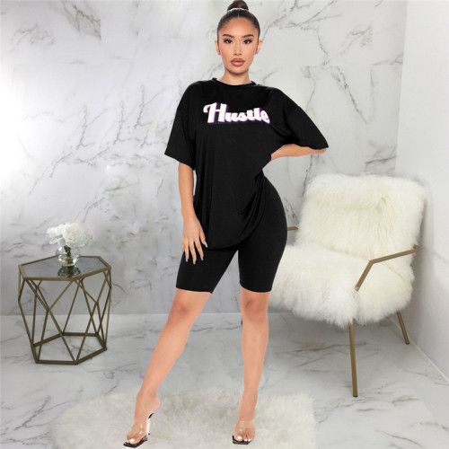 Black Two piece sports and leisure suit