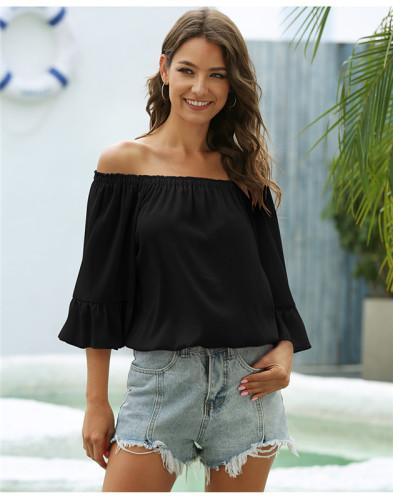 Black One shoulder loose flared sleeve chiffon shirt