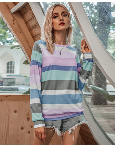 Blue Round neck fashion multicolor striped long sleeve T-shirt