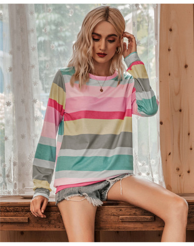 Pink Round neck fashion multicolor striped long sleeve T-shirt