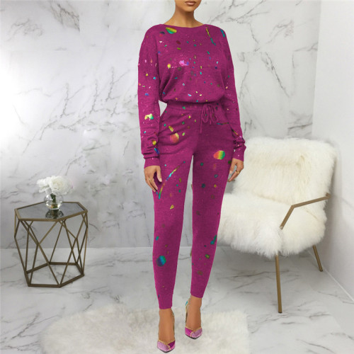 Purple Two piece leisure fashion printing set