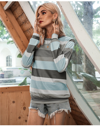 Gray Round neck fashion multicolor striped long sleeve T-shirt