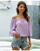 Purple One shoulder loose flared sleeve chiffon shirt
