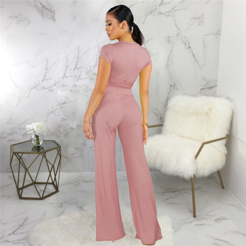 Pink Sexy fashion classic solid two piece suit