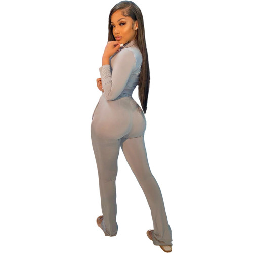 Gray Pure color fashion leisure sports two-piece suit