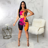 Rose Red Sexy fashion one neck bra Jumpsuit