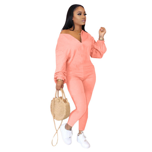 Pink Pure color sloping shoulder fashion casual jumpsuit