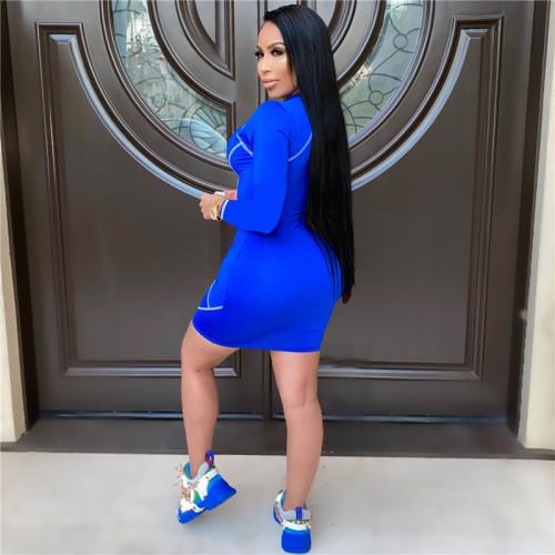 Blue Fashion V-neck women's mid skirt sexy one-piece dress