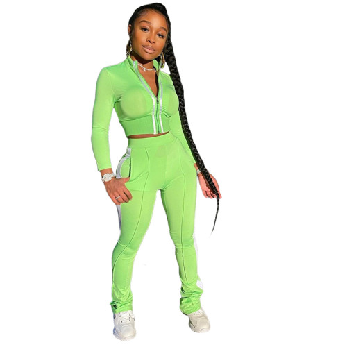 Light Green Pure color splicing fashion sports and leisure two-piece suit