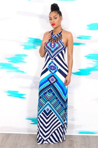 Blue Sexy hot print fashion swing dress