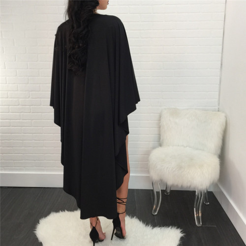 Black Fashion round neck Pullover dress