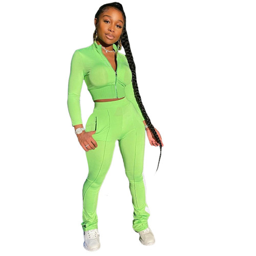 Green Pure color fashion leisure sports two-piece suit