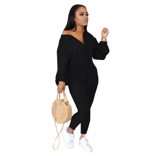 Black Pure color sloping shoulder fashion casual jumpsuit