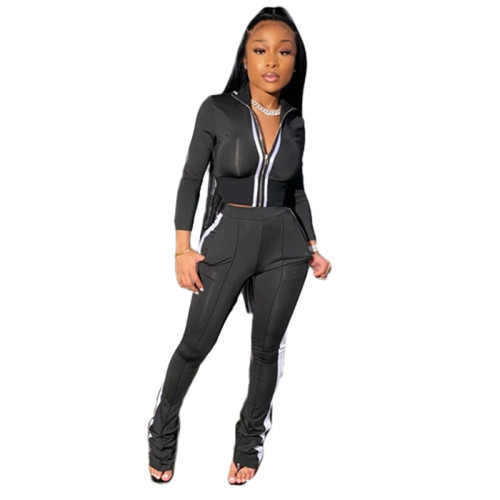 Black Pure color splicing fashion sports and leisure two-piece suit