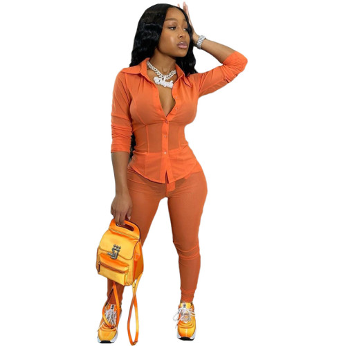 Orange Pure color mesh perspective coat sexy two-piece suit