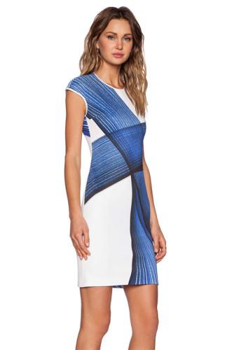 Printed high stretch slim dress