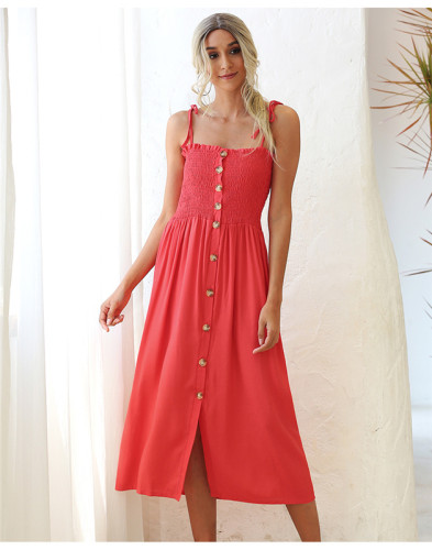 Orange Shirred wrap breast buttoned dress