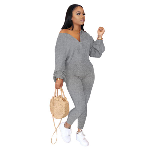 Gray Pure color sloping shoulder fashion casual jumpsuit