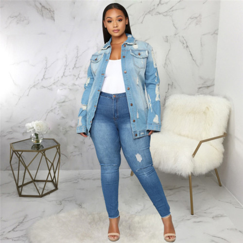Blue Sexy fashion versatile winter women's jeans jacket