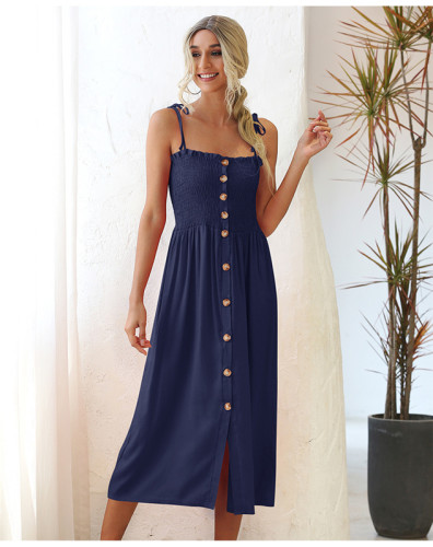 Blue Shirred wrap breast buttoned dress
