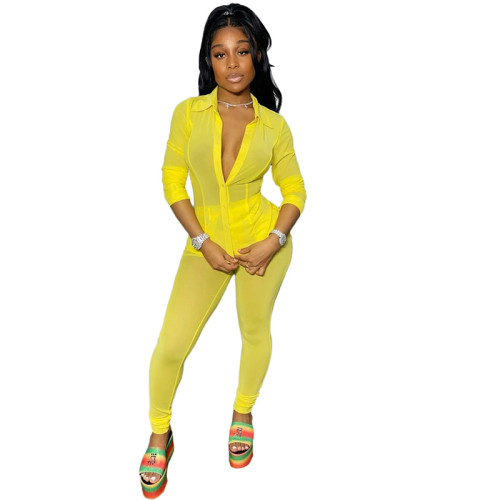 Yellow Pure color mesh perspective coat sexy two-piece suit
