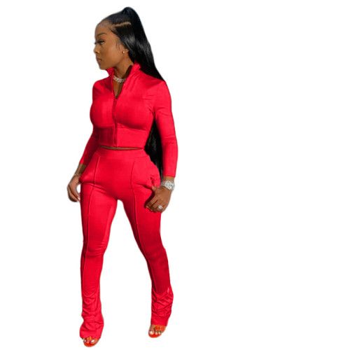 Red Pure color fashion leisure sports two-piece suit