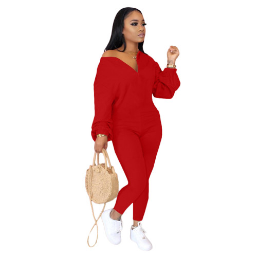 Red Pure color sloping shoulder fashion casual jumpsuit