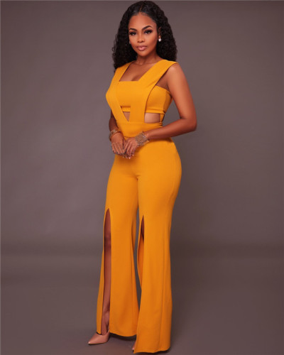 Yellow Fashion women's loose casual Jumpsuit