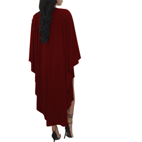 Claret Fashion round neck Pullover dress