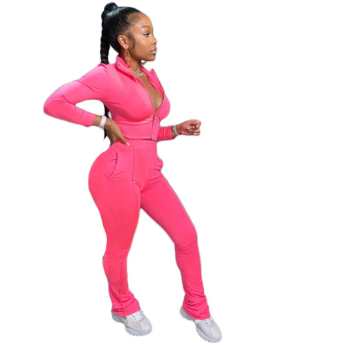 Pink Pure color fashion leisure sports two-piece suit
