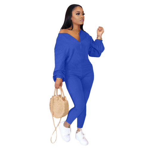 Blue Pure color sloping shoulder fashion casual jumpsuit
