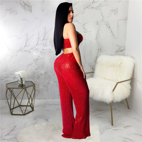 Red Sexy fashion hot Sequin pants