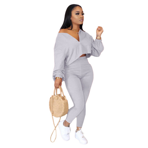 Gray Two-piece fashion casual set with slanted shoulders