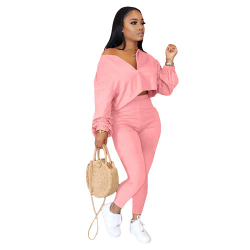 Pink Two-piece fashion casual set with slanted shoulders