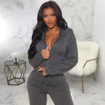 Gray Two piece leisure fashion hooded sports suit