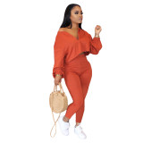 Orange Two-piece fashion casual set with slanted shoulders